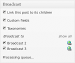 Broadcast meta box showing the queue being processed
